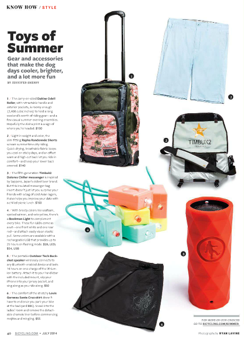 Buckshot wireless speaker in Bicycling magazine